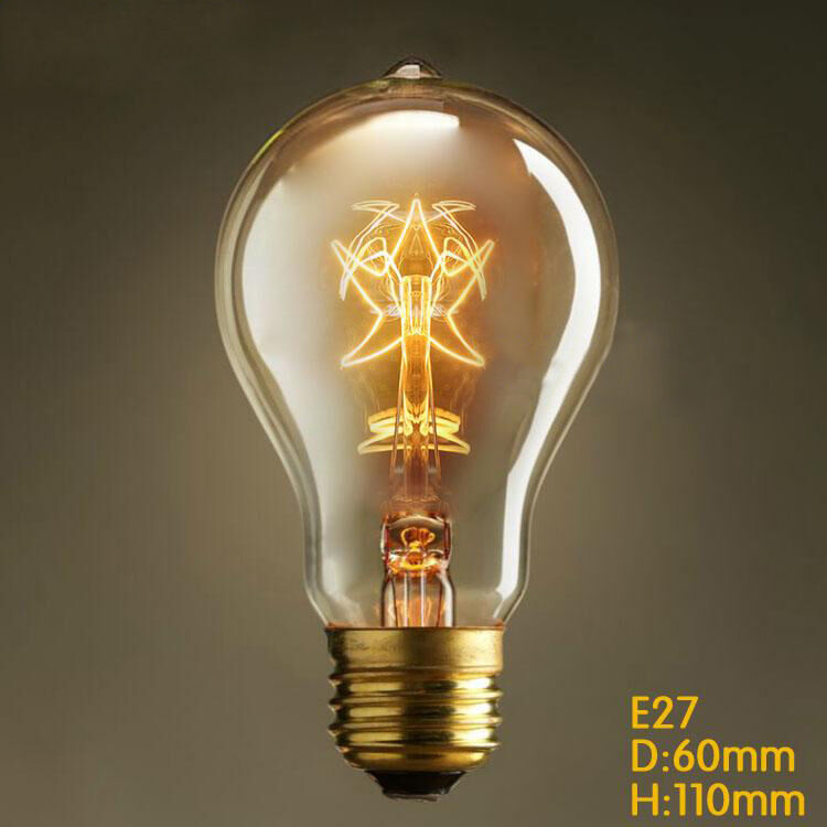 2 bulbs vintage a19 star edison glass filament antique - Ampoule e27 40w ...