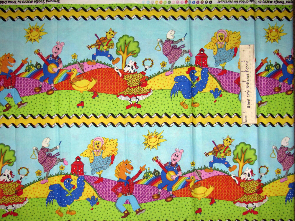 Horse chicken pig kids farm stripe cotton fabric northcott for Horse fabric for kids
