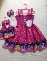 New Handmade Rainbow My Little Pony DressToddler/Girls (2T - 7/8) Doll Dress,Bow