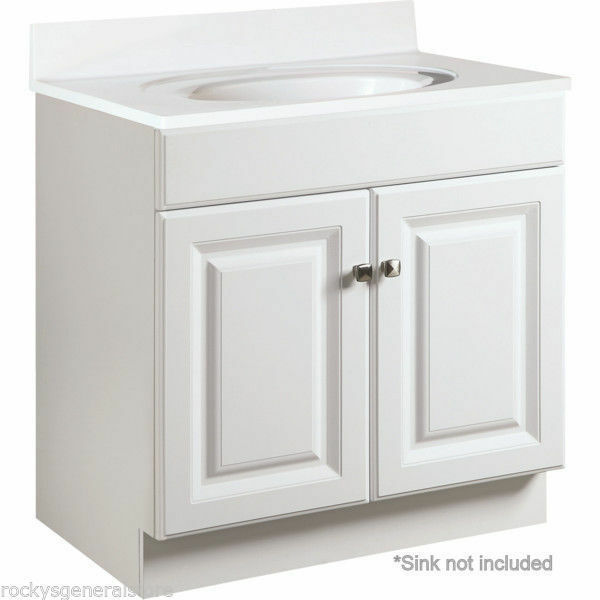 Bathroom vanity cabinet thermofoil white 30quot wide x 21 for How deep is a bathroom vanity