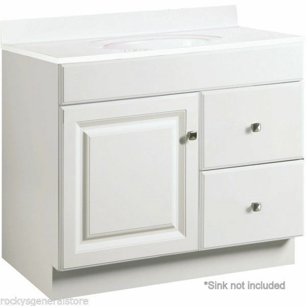 Bathroom vanity cabinet thermofoil white 36 wide x 21 for 30 wide bathroom vanity