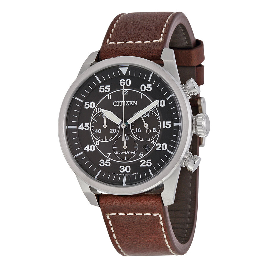 Citizen Eco-Drive Military Avion Leather Mens Chronograph ...