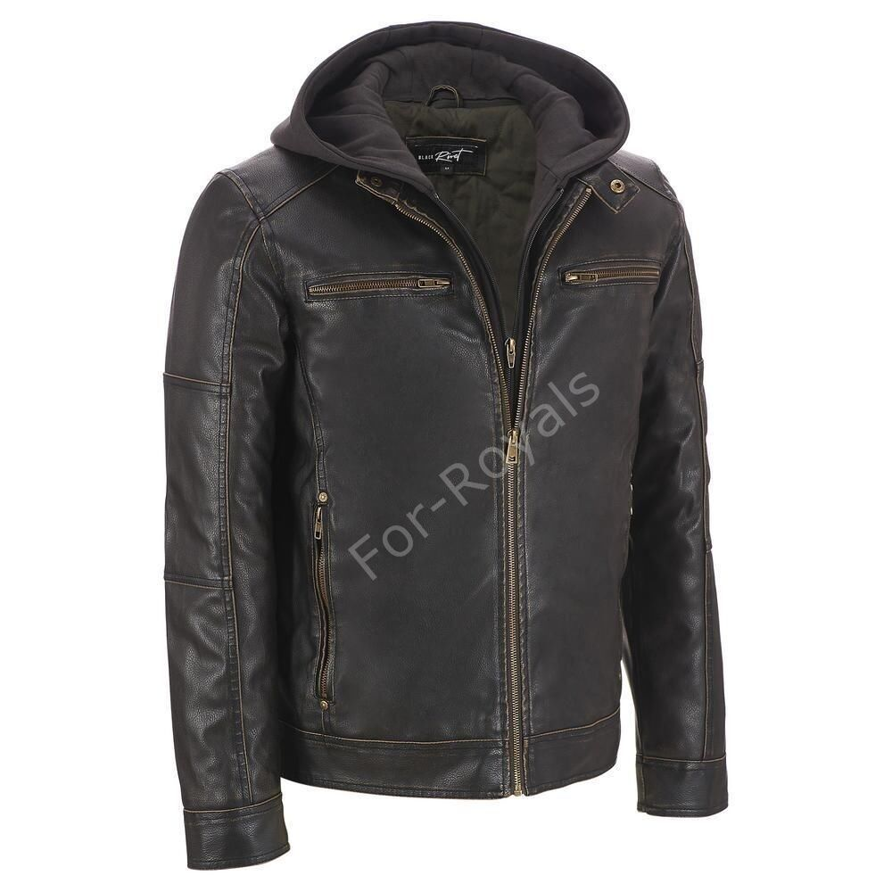 Racing Biker Motorcycle Real Leather Jacket Detach Hood ...