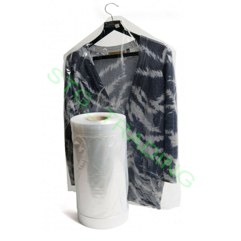 Clear polythene plastic garment covers film dry cleaners for Clear plastic dress shirt bags