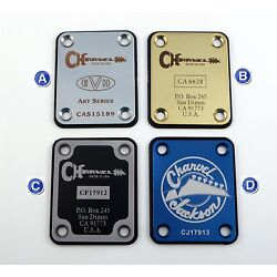 Charvel Tribute Guitar Neck Plate - Engraved in your choice of 8 colors