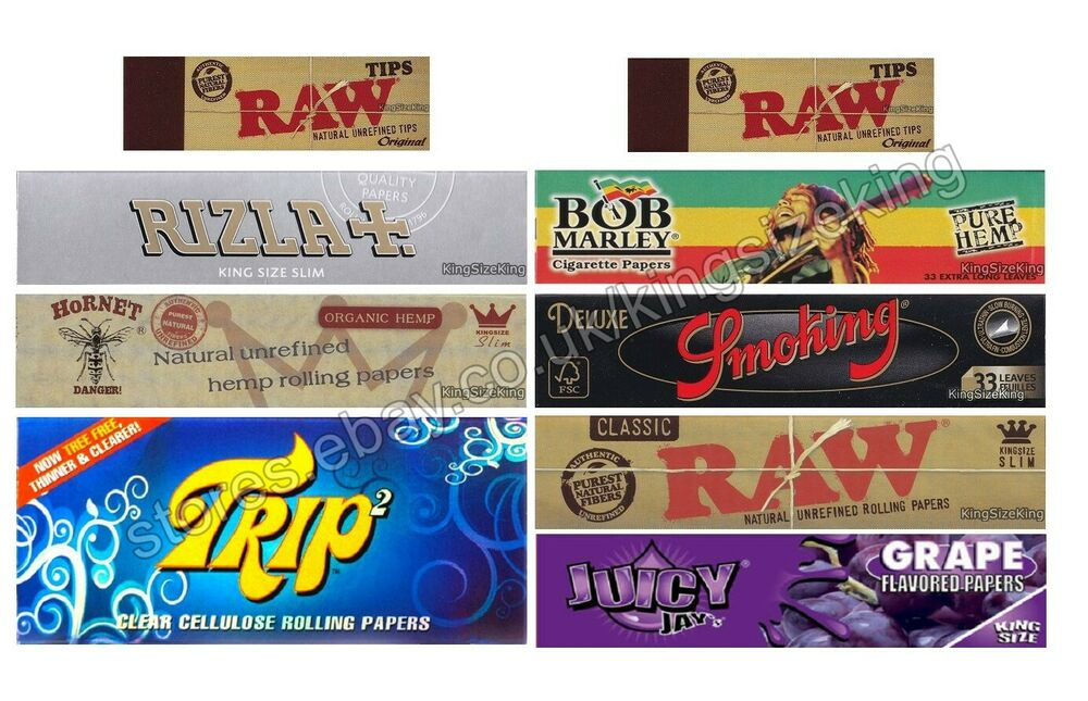 King Size Rolling Papers Variety Pack And Raw Tips Combo