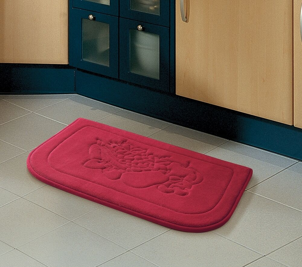 Red Fruit Memory Foam Anti Fatigue Kitchen Floor Mat Rug