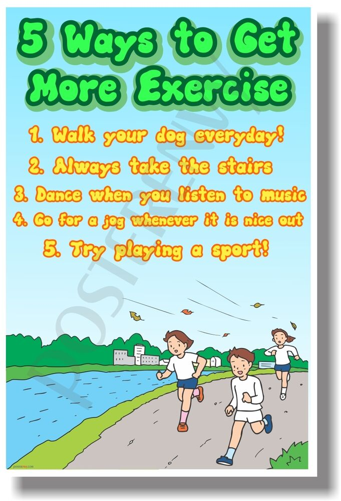 5 ways to get more excercise   new healthy living poster