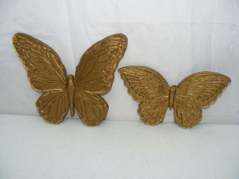2 Homco Home Interiors Gold Color Butterflies Nice Ebay