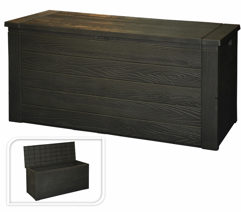 Wood Crate Effect Garden Storage Box With Lid Garden Patio