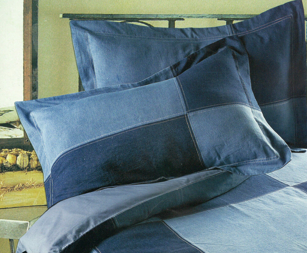 Cotton Blue Denim Quilt Duvet Cover Vintage Retro Chic Bed