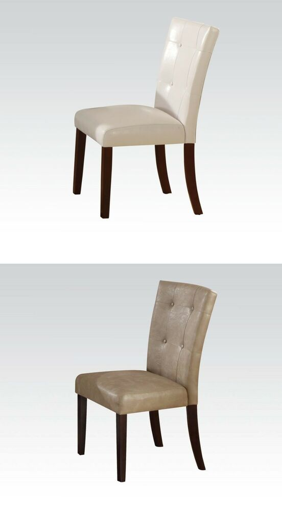 Cream or White PU fort Dining Chairs Walnut Finish wood