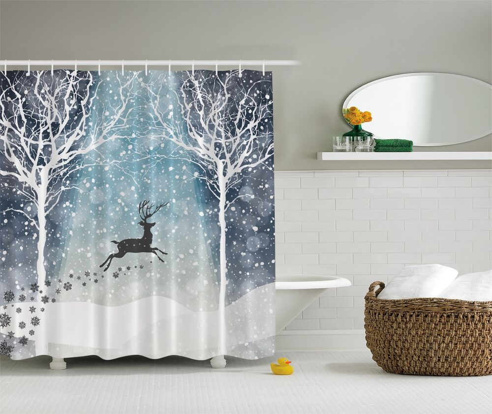 Winter Holiday Reindeer Christmas Fabric Shower Curtain