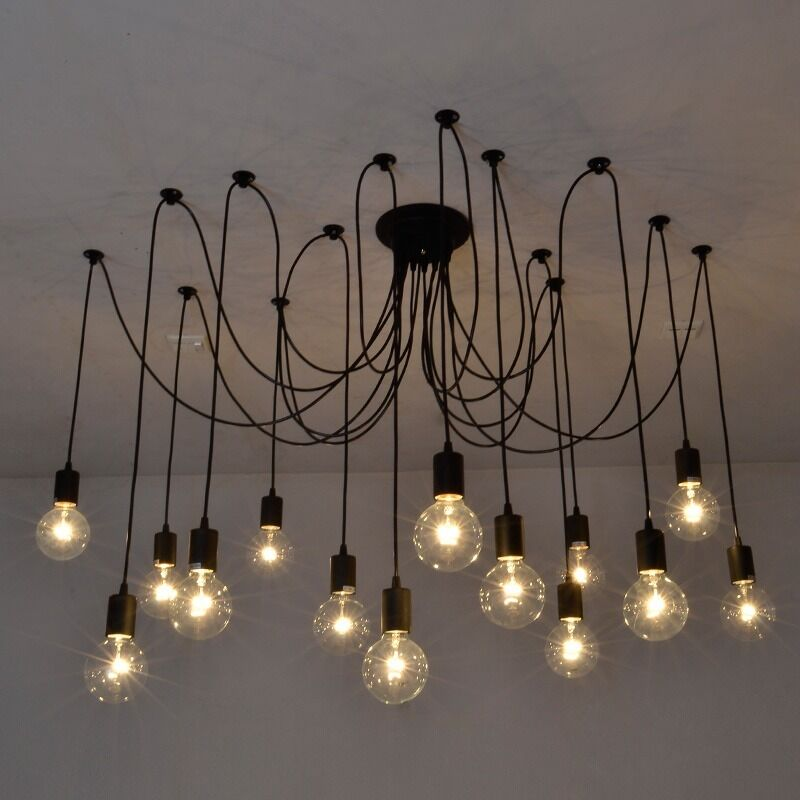 Vintage edison industrial style chandelier pendant lights for Lampe suspendu noir
