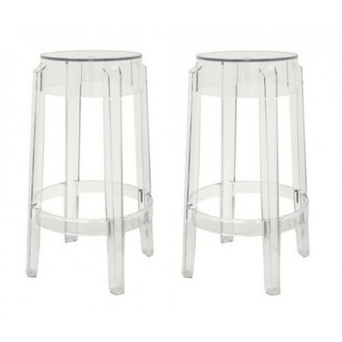 Set Of 2 Acrylic Ghost Bar Stool Or Counter Stool Louis