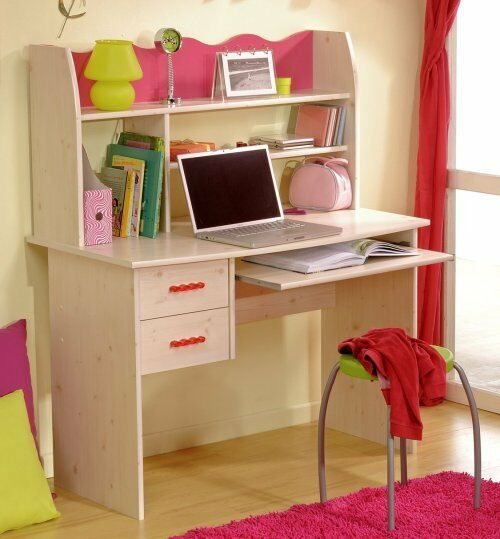 schreibtisch kinderschreibtisch kinderzimmer m dchenzimmer kiefer weiss pink neu ebay. Black Bedroom Furniture Sets. Home Design Ideas