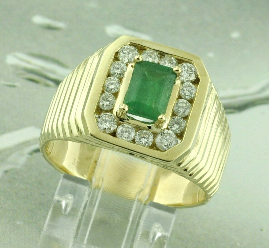 14k Solid Yellow Gold men s Natural Colombian Emerald Diamond Ring 1 69 c