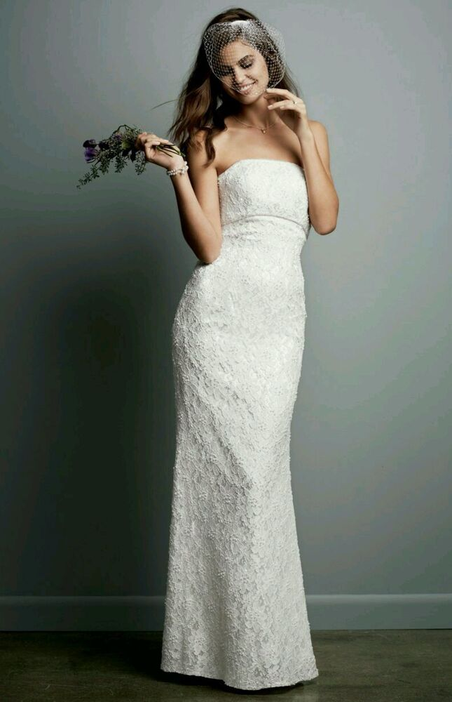 David 39 s bridal galina beaded lace gown with empire waist for Davids bridal cheap wedding dresses