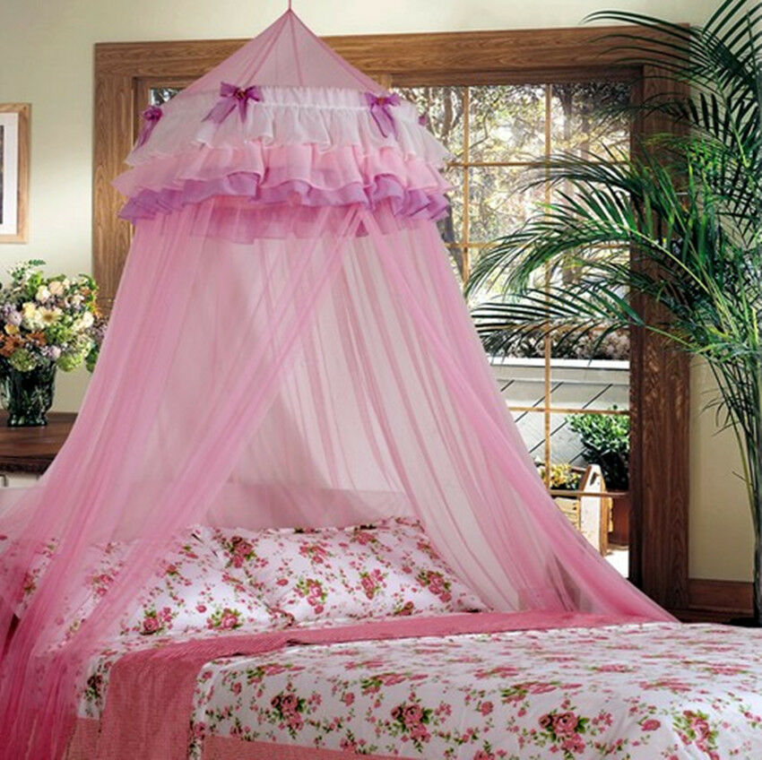 elegant lace bed mosquito netting mesh canopy princess round dome bedding net ebay. Black Bedroom Furniture Sets. Home Design Ideas