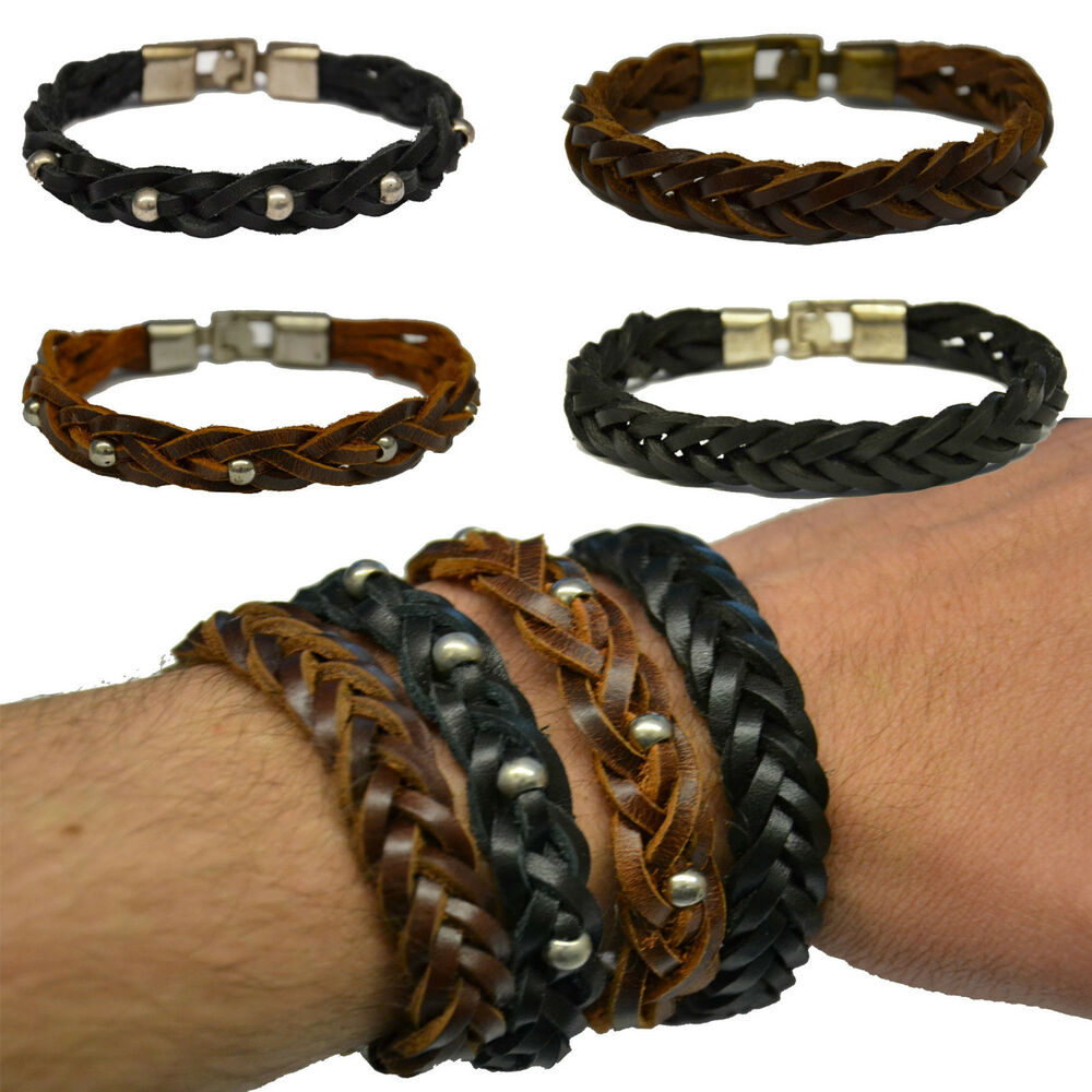 Full Bands: Leather Wrist Band Weave Arm Band Full Leather Bracelet