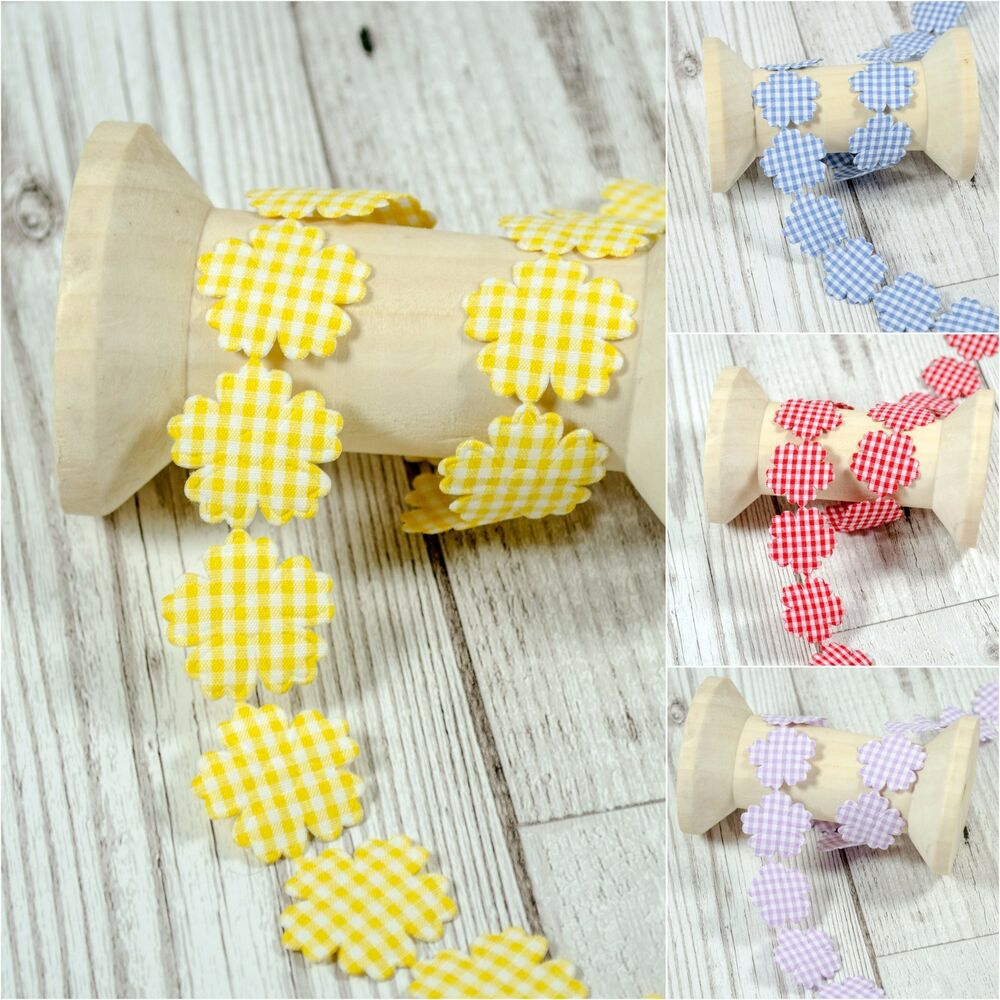 Daisy peony flower cotton trim gingham lace ribbon crafts for Craft ribbons and trims