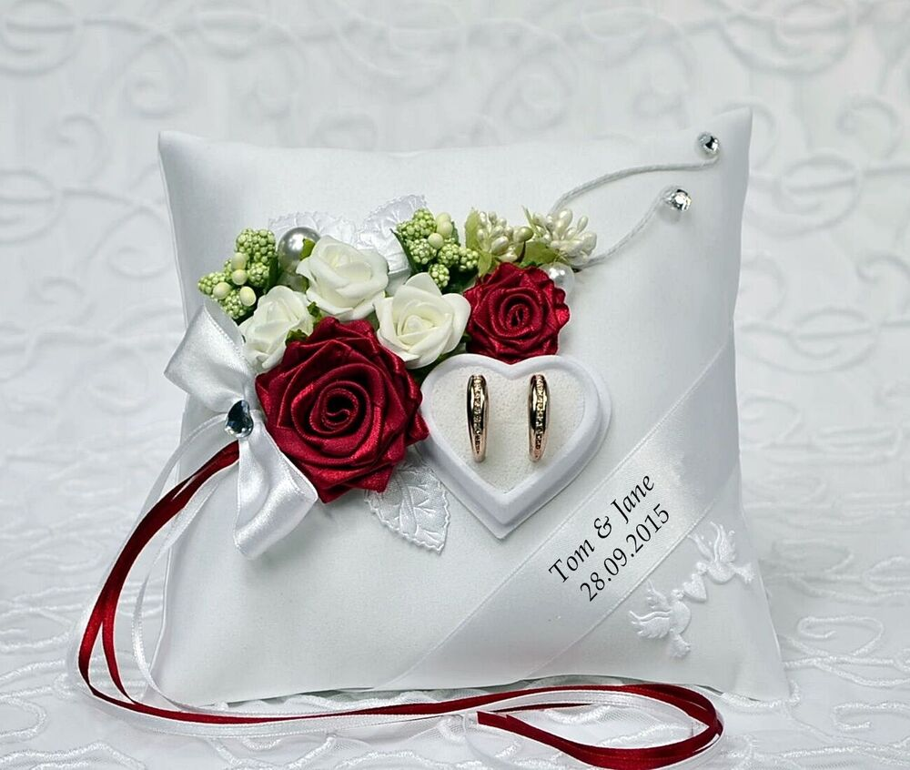 personalized wedding ring cushion pillow with rings