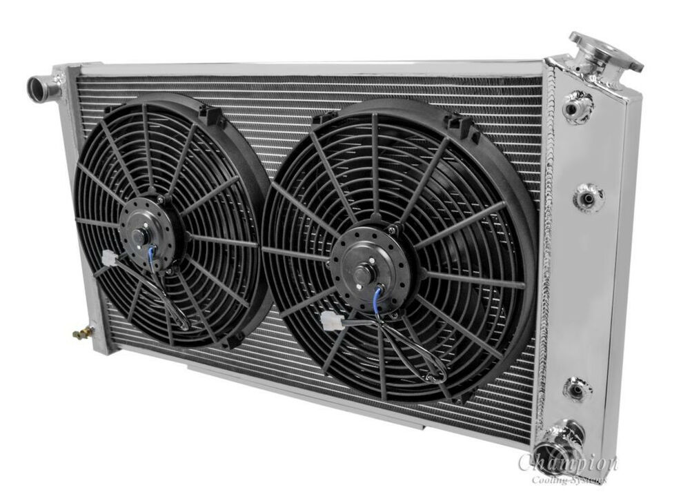 chevelle 4 row radiator & fans, champion, 2 14\