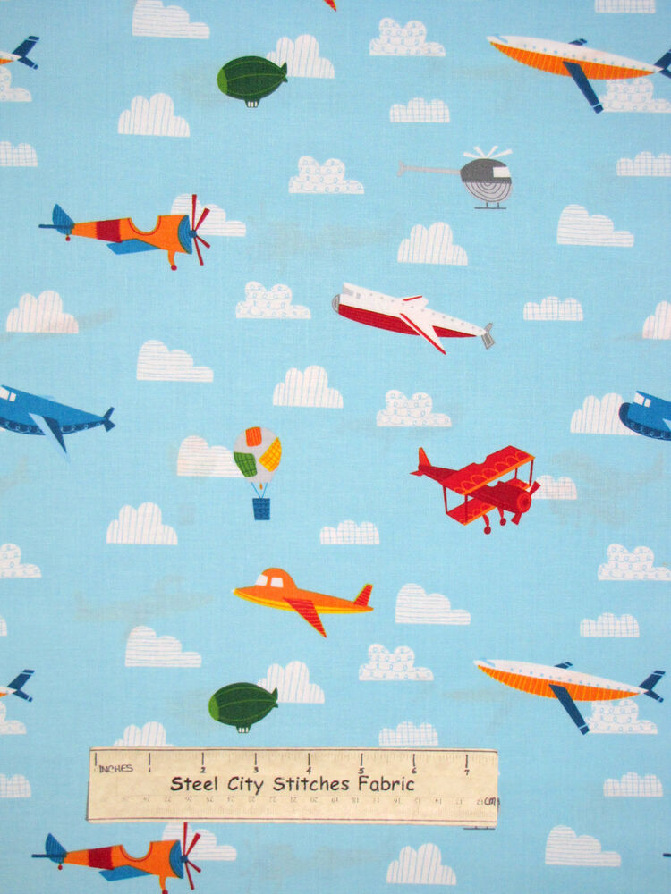 Airplane air planes sky clouds kids blue cotton fabric for Airplane fabric by the yard