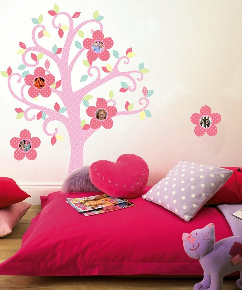 Bon bon photo tree wall decals pink flowers polka dot for Polka dot decorations for bedrooms