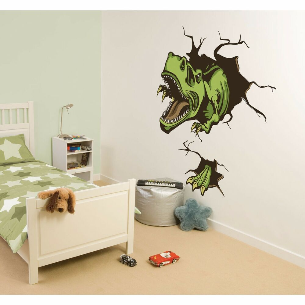 CRASHING DINO Wall Decals T-REX DINOSAUR Room Decor ...