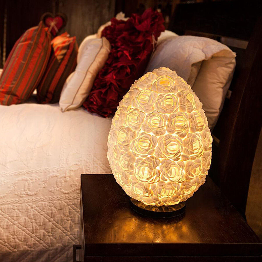 Egg rose shell table lamp bali round lighting home decor for Bali home decorations wholesale