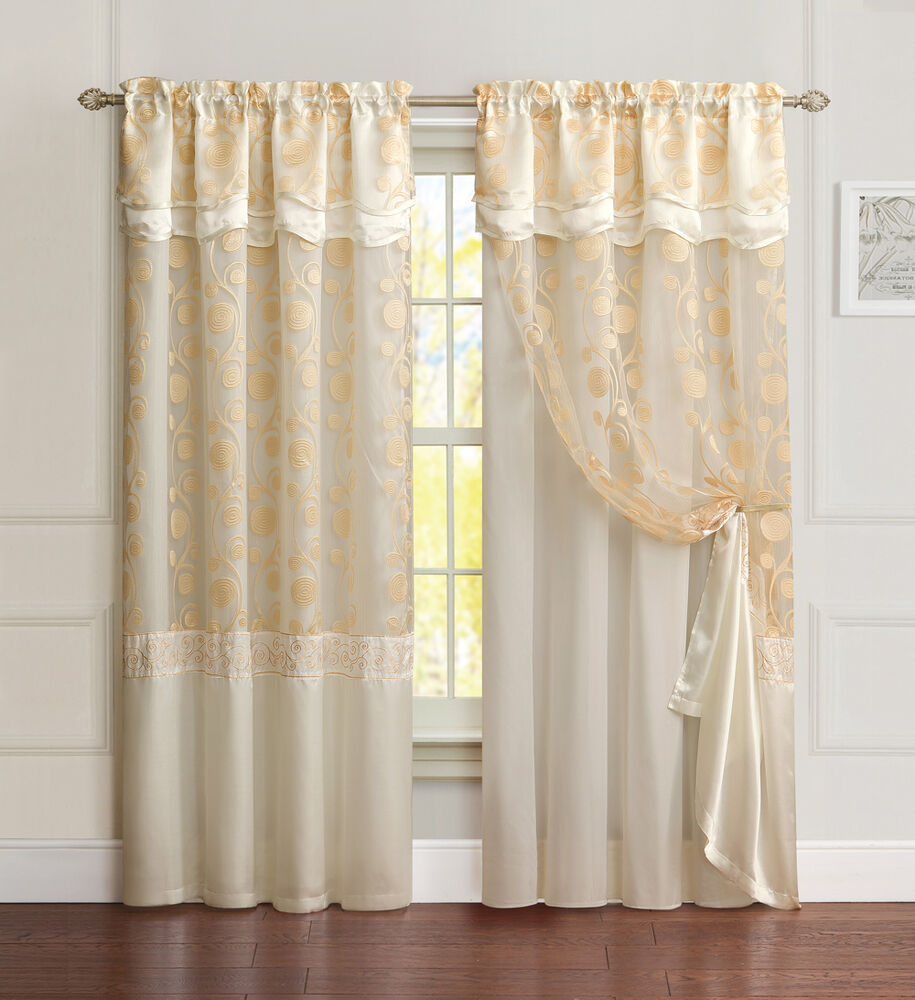 Double Panel Window Curtains : All in one ivory beige window curtain drapery panel