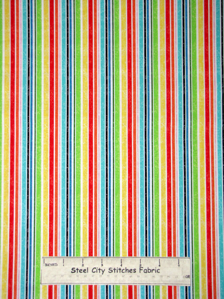 Multicolor stripe kids forest friends cotton fabric red for Kids fabric by the yard