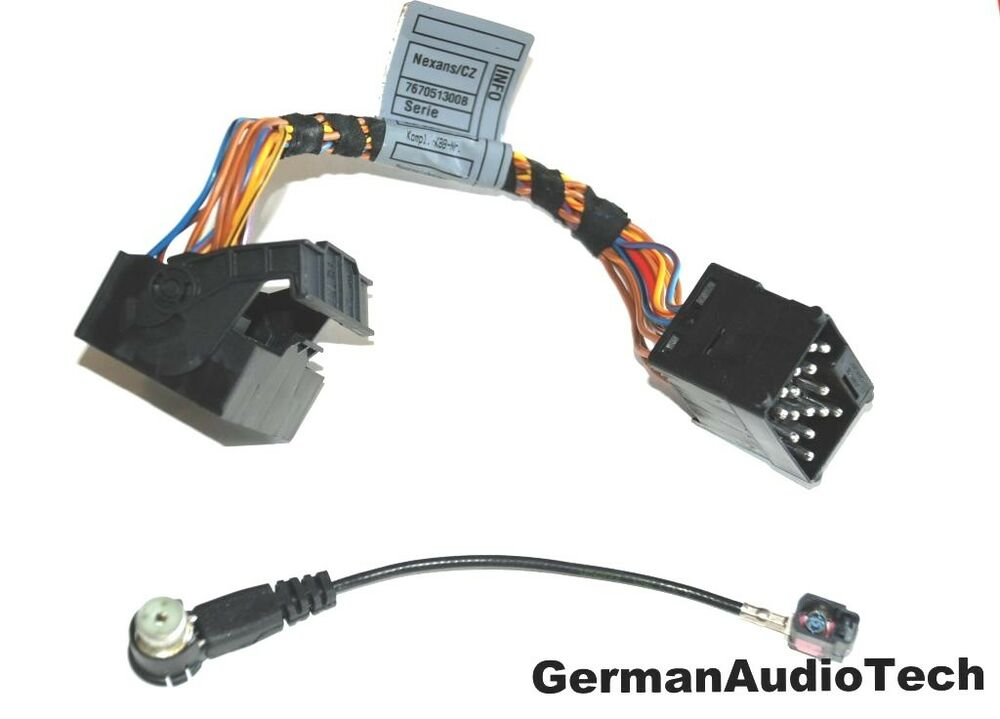 bmw round to flat pin radio antenna adapter harness cable e39 540i m5 e53 x5 ebay. Black Bedroom Furniture Sets. Home Design Ideas