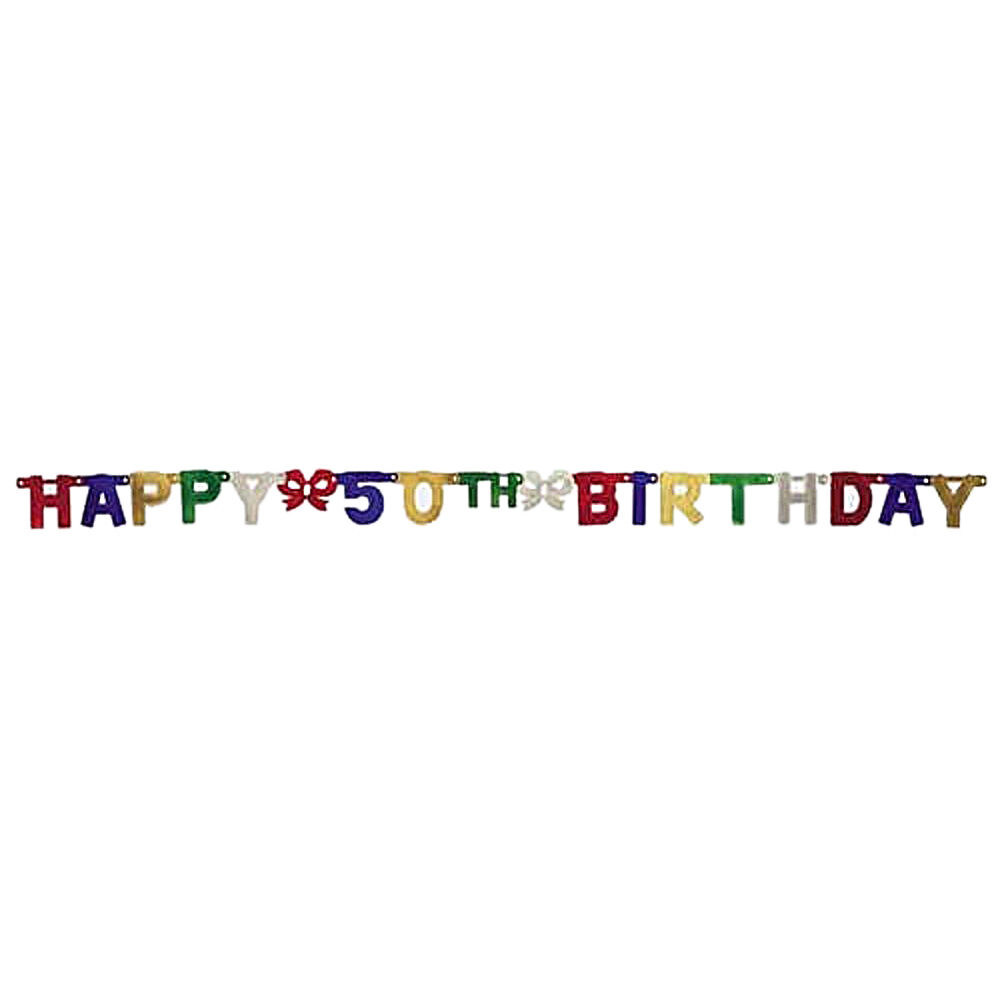 Party Decoration Jointed Banner, Happy 50th Birthday, 6.5