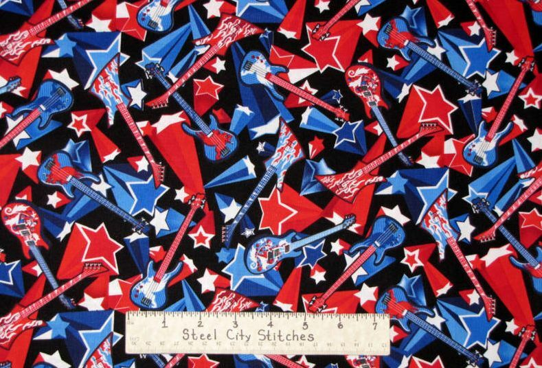Guitar star rock n roll flame red white blue kids cotton for Kids novelty fabric