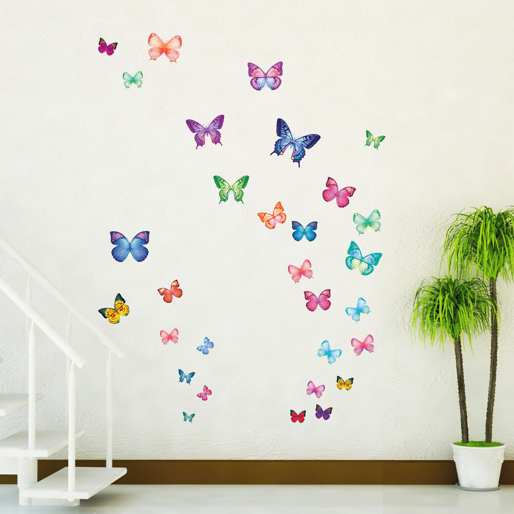 Details About Decowall DW 1302 30 Vibrant Butterflies Wall Stickers Tattoos Kid  Room Decals Ha