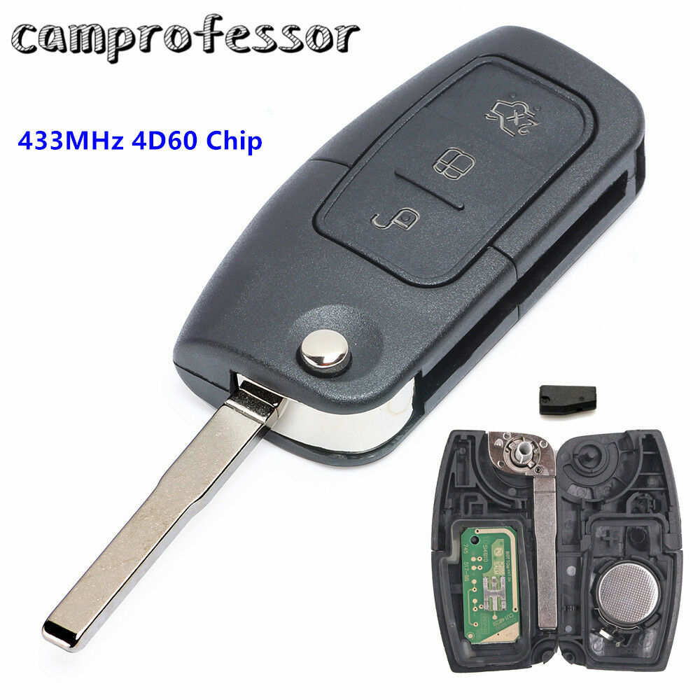 remote key fob 3 button 433mhz with chip 4d60 for ford focus mondeo c max s max ebay. Black Bedroom Furniture Sets. Home Design Ideas