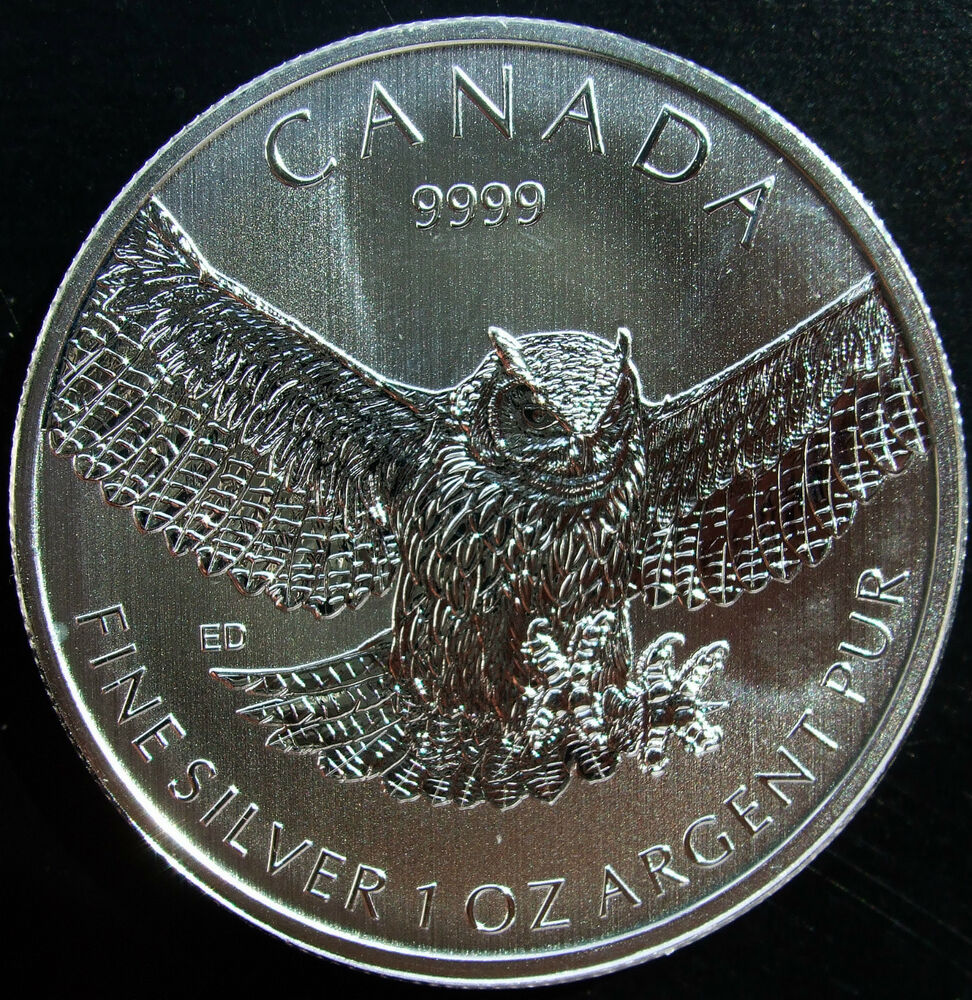 Canada 2015 1 Oz Great Horned Owl Silver Maple Leaf Coin