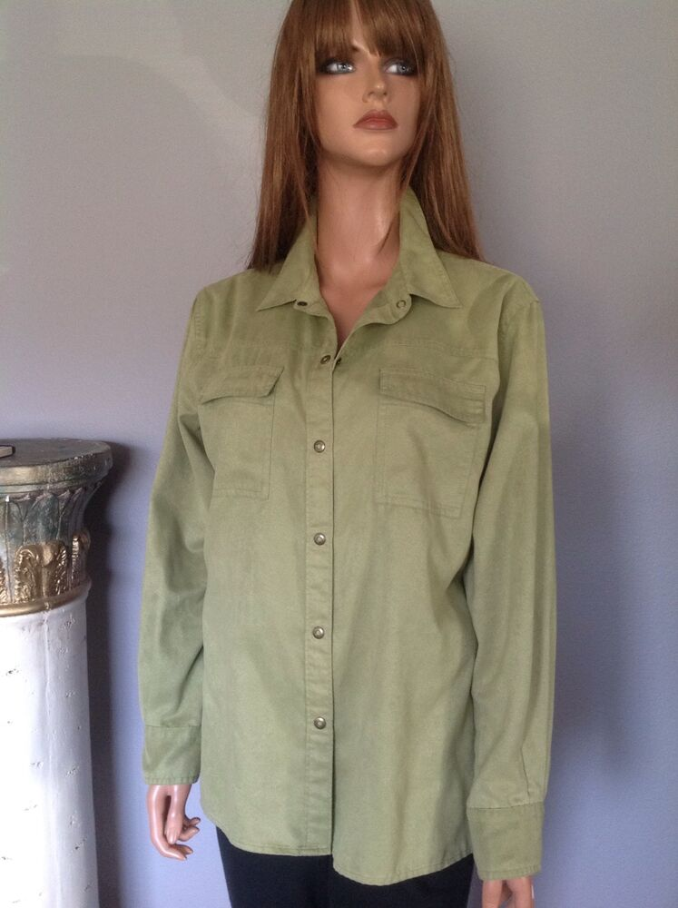chico 39 s m button down shirt women olive green designer