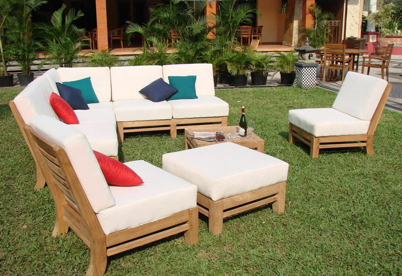 ramled a grade teak wood 7pc sectional sofa lounge set outdoor garden patio new ebay. Black Bedroom Furniture Sets. Home Design Ideas