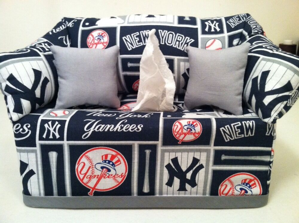 mlb new york yankees tissue box cover grey pillows handmade ebay. Black Bedroom Furniture Sets. Home Design Ideas