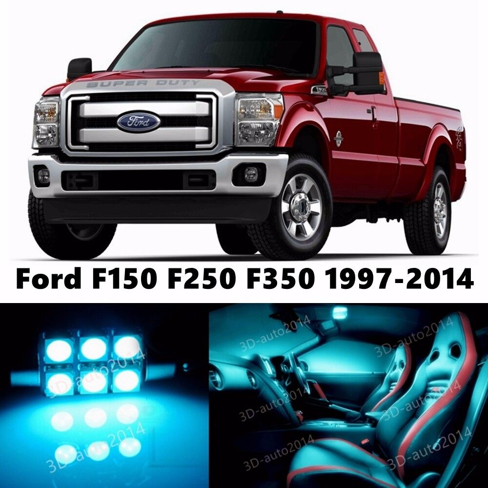 11pcs Led Ice Blue Light Interior Package Kit For Ford F150 F250 F350 1997 2014 Ebay