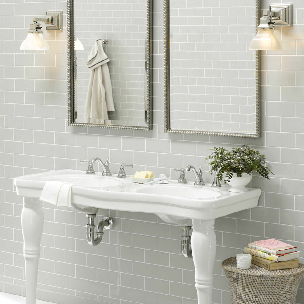 Light Grey Tiles For Bathroom: New York Subway Metro Flat Light Grey Gloss Kitchen