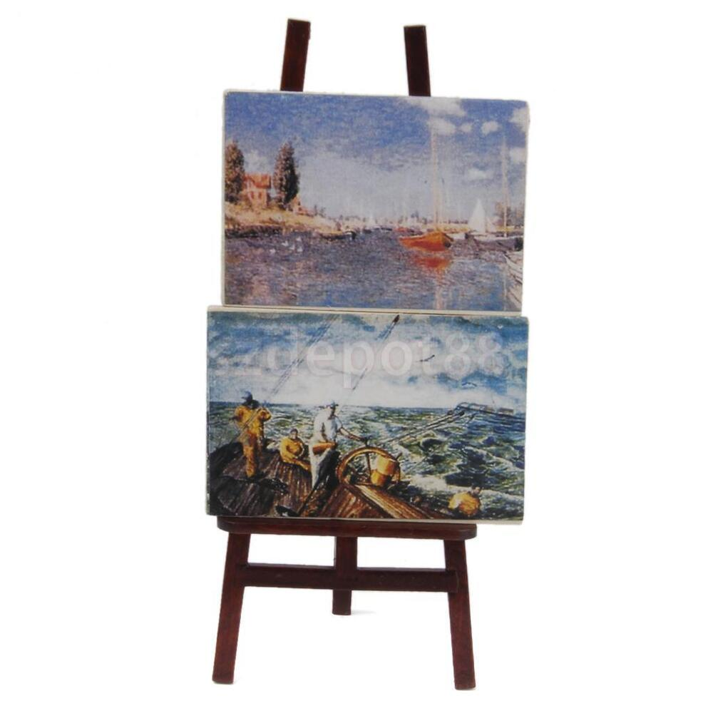 1:12 Scale Artist Wooden Easel & Painting Dollhouse