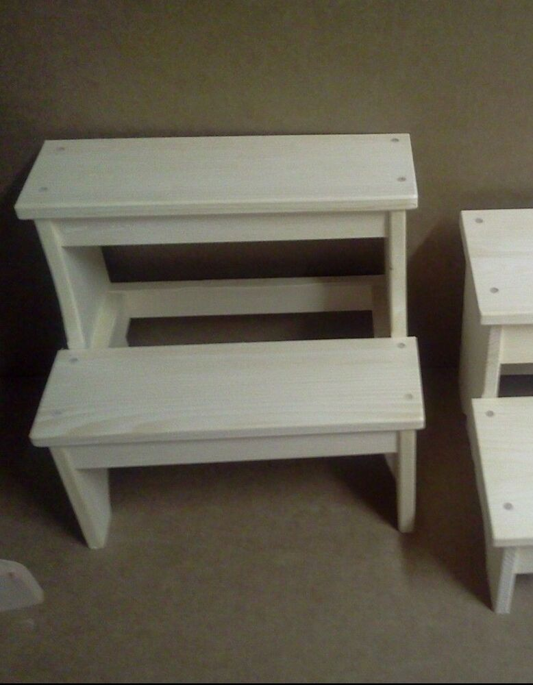 Wooden Narrow 2 Step Plain Stool Child 39 S Bench Unfinished Pine Wood Boy Girls Ebay