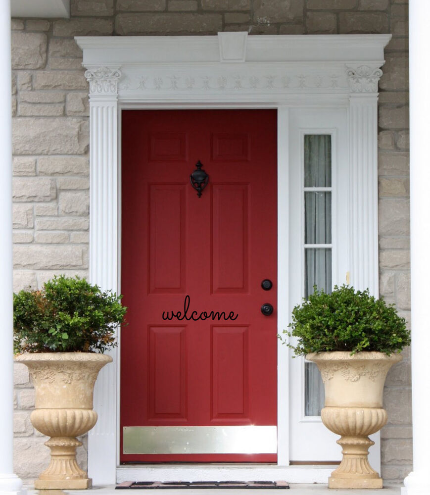 WELCOME Front Door Welcome Entrance Wall Art Decal Words