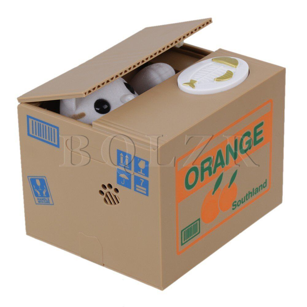A cat stealing money from you mechanical coin piggy bank mischief saving box ebay - Coin stealing cat piggy bank ...