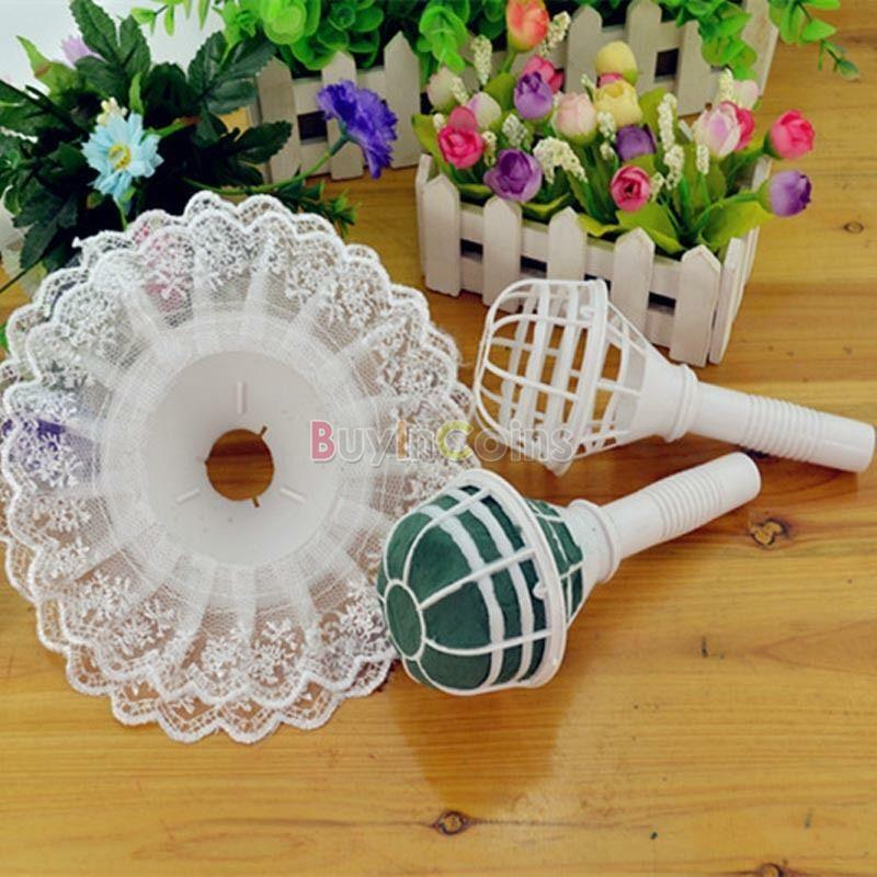 How To Use Bridal Bouquet Holder : Cute lace collar of flower floral bouquet foam handle