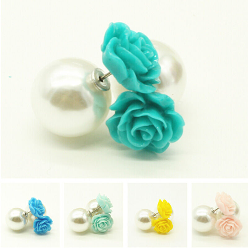 Celebrity Style Beads: Celebrity Fashion Women Double Ball Beads Pearl Flower
